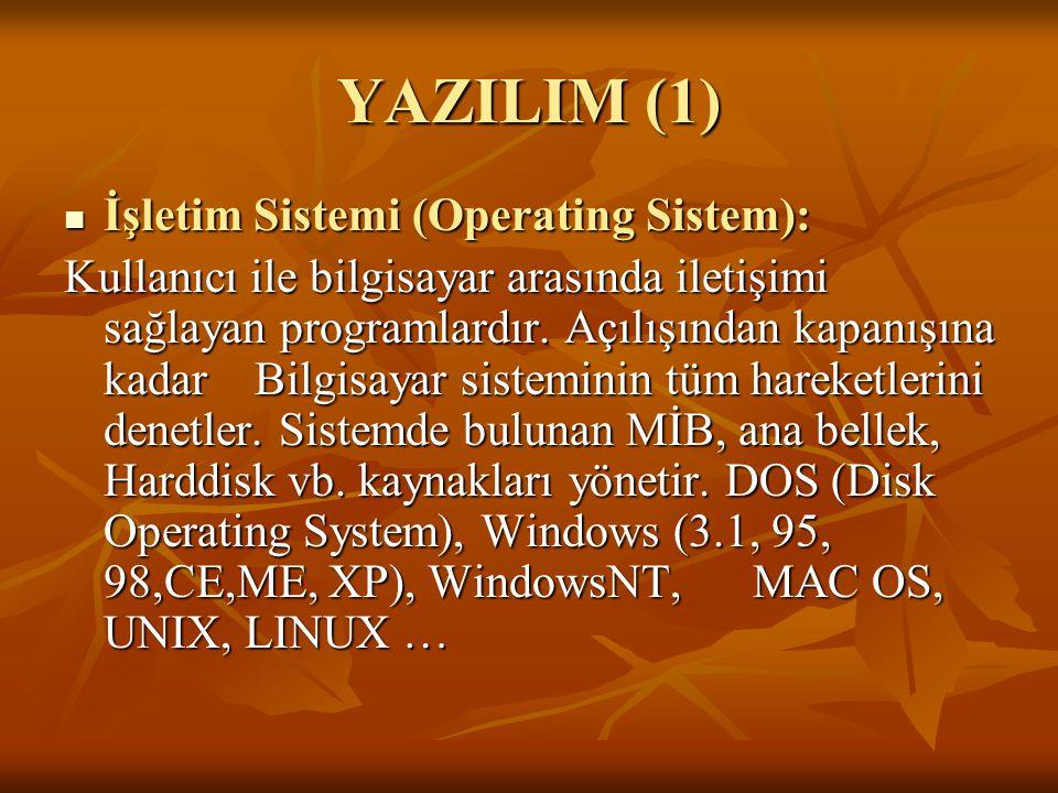 YAZILIM (1) İşletim Sistemi (Operating Sistem):