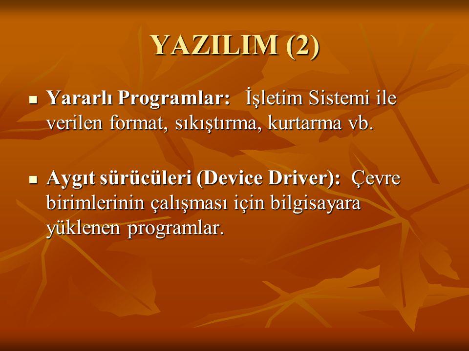YAZILIM (2) Yararlı Programlar: İşletim Sistemi ile verilen format, sıkıştırma, kurtarma vb.