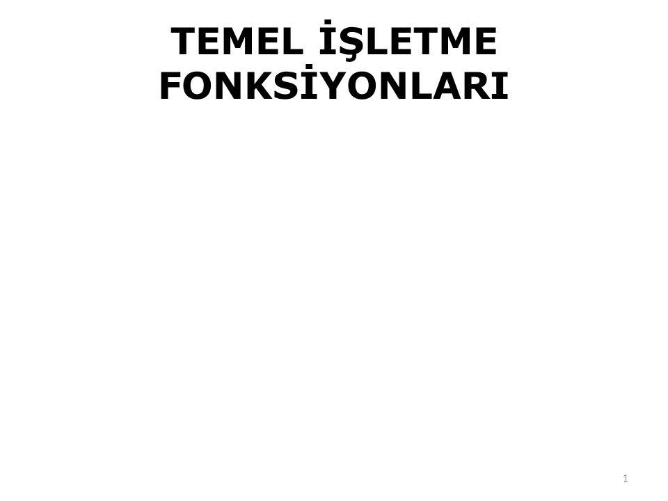 TEMEL İŞLETME FONKSİYONLARI