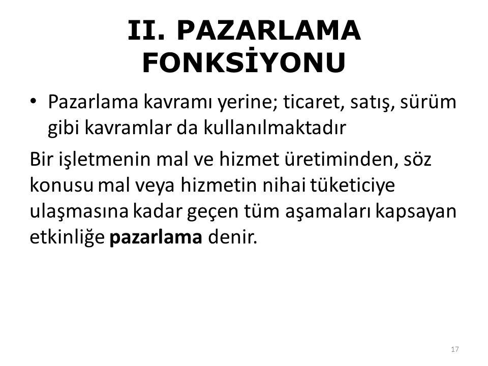 II. PAZARLAMA FONKSİYONU