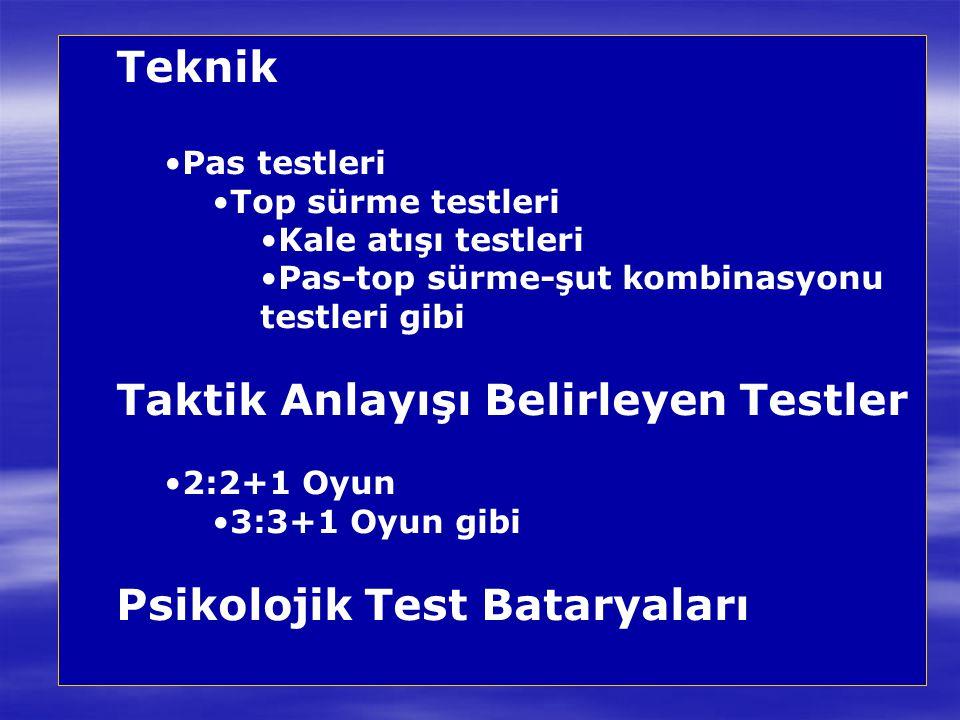 Taktik Anlayışı Belirleyen Testler