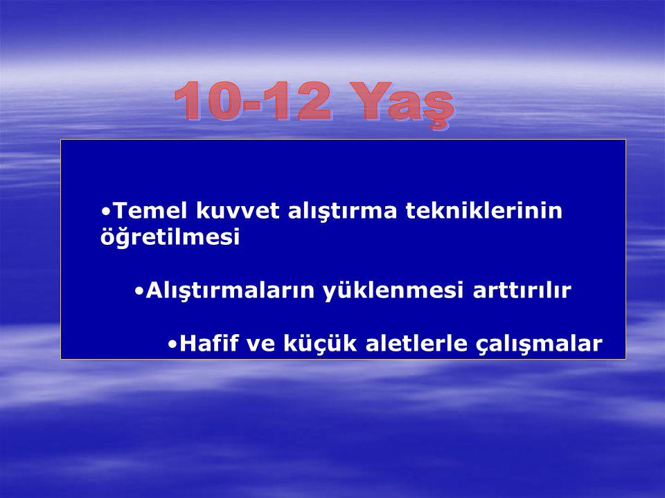 10-12 Yaş Temel kuvvet alıştırma tekniklerinin öğretilmesi