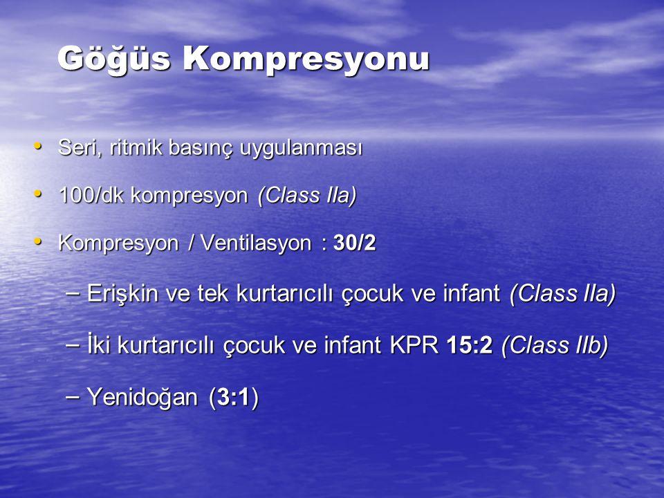 Göğüs Kompresyonu Seri, ritmik basınç uygulanması. 100/dk kompresyon (Class IIa) Kompresyon / Ventilasyon : 30/2.