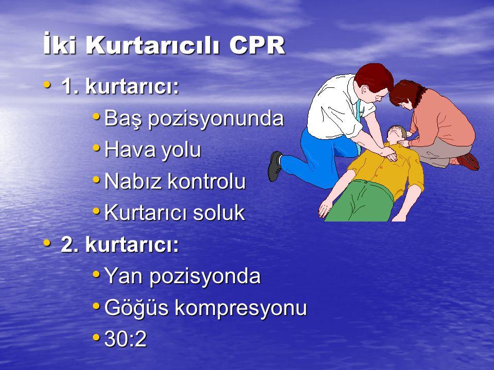 İki Kurtarıcılı CPR 1. kurtarıcı: Baş pozisyonunda Hava yolu