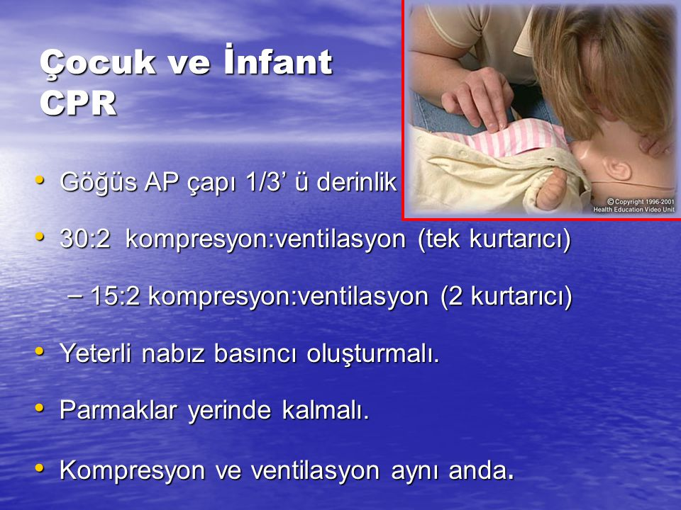 Çocuk ve İnfant CPR Göğüs AP çapı 1/3' ü derinlik