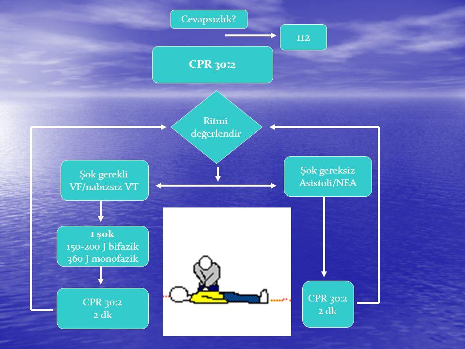 112 CPR 30:2 Cevapsızlık Ritmi değerlendir Şok gereksiz Asistoli/NEA