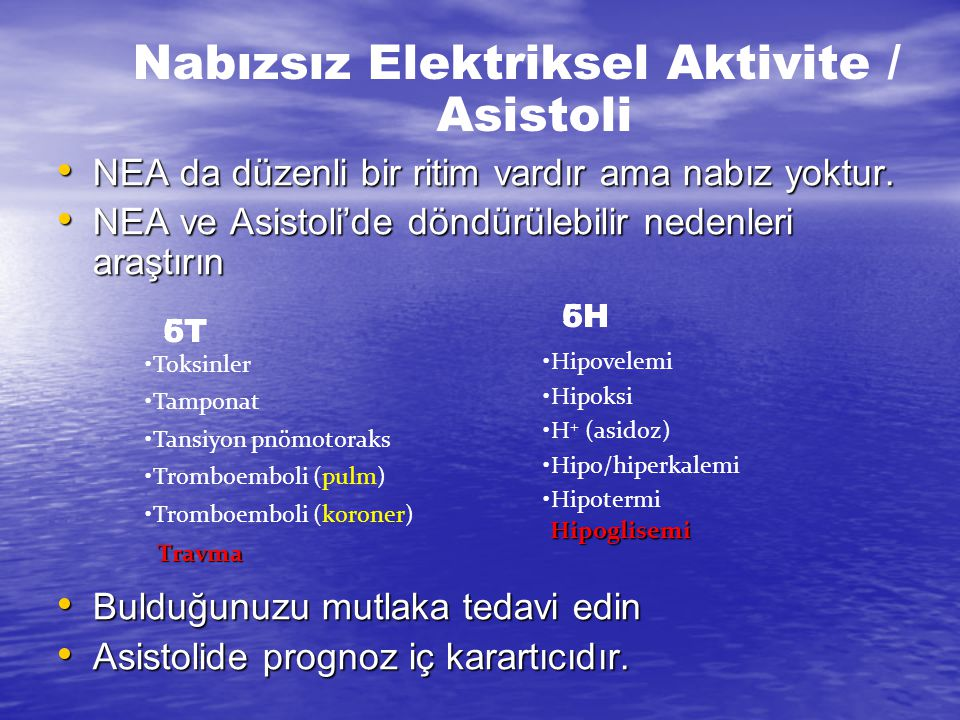 Nabızsız Elektriksel Aktivite / Asistoli