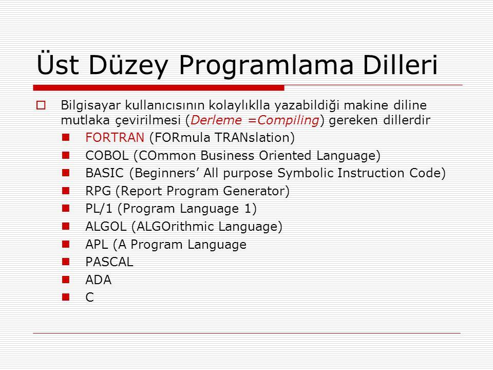 Üst Düzey Programlama Dilleri