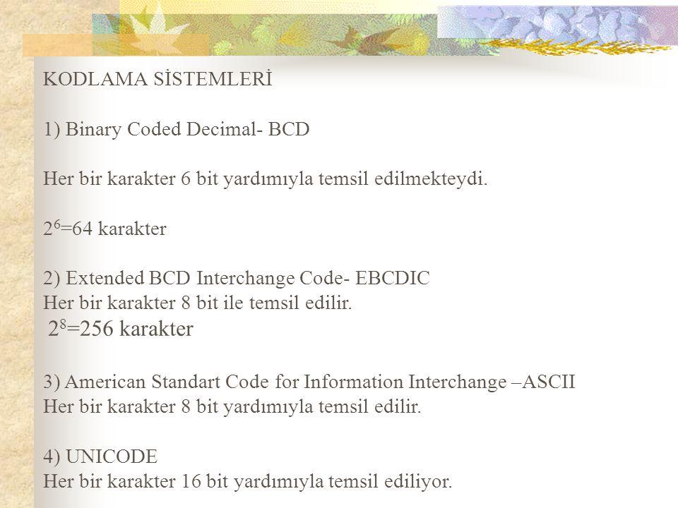 KODLAMA SİSTEMLERİ 1) Binary Coded Decimal- BCD. Her bir karakter 6 bit yardımıyla temsil edilmekteydi.