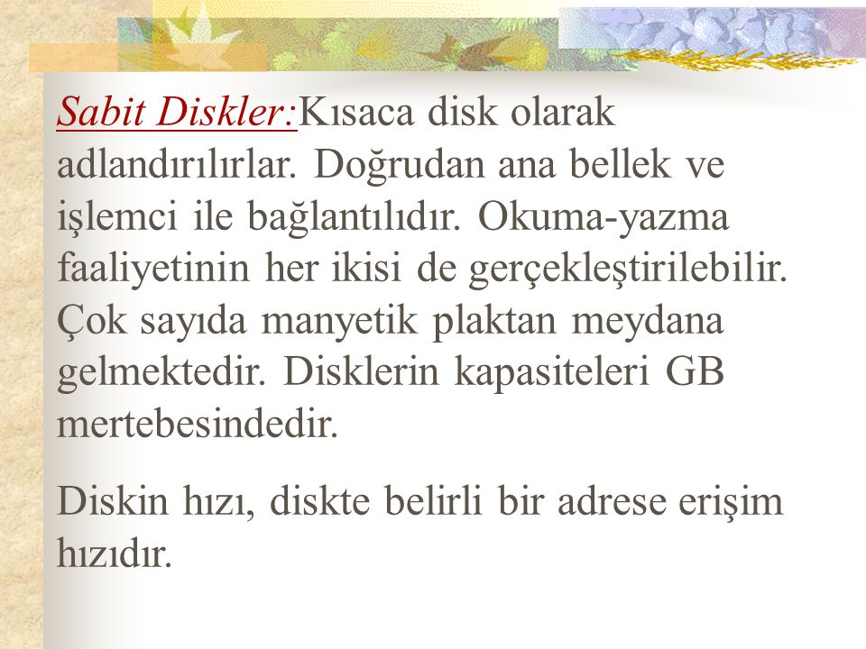Sabit Diskler:Kısaca disk olarak adlandırılırlar