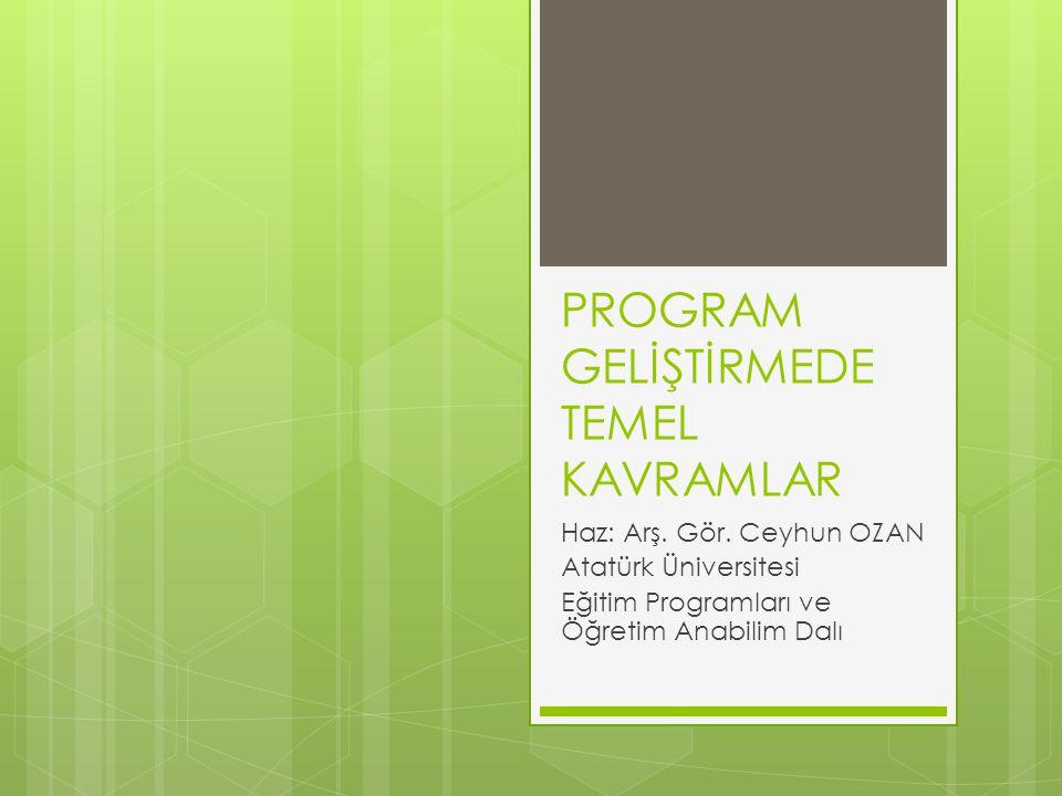 PROGRAM GELİŞTİRMEDE TEMEL KAVRAMLAR