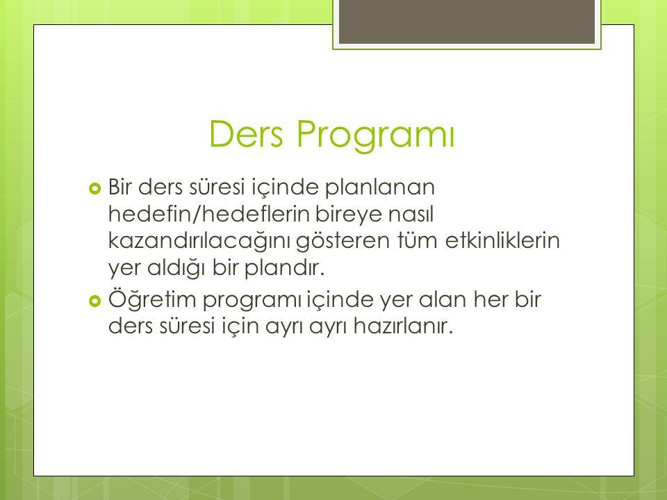 Ders Programı Bir ders süresi içinde planlanan hedefin/hedeflerin bireye nasıl kazandırılacağını gösteren tüm etkinliklerin yer aldığı bir plandır.