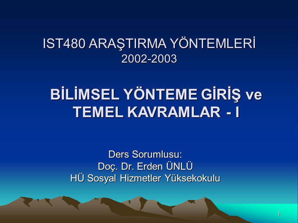 IST480 ARAŞTIRMA YÖNTEMLERİ 2002-2003