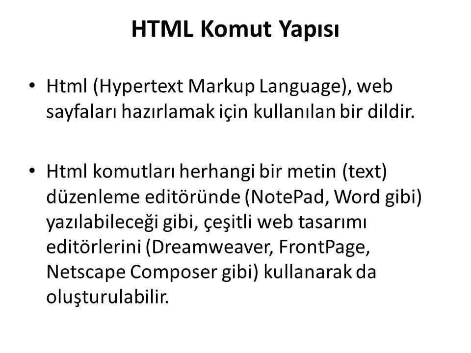 HTML Komut Yapısı Html (Hypertext Markup Language), web sayfaları hazırlamak için kullanılan bir dildir.