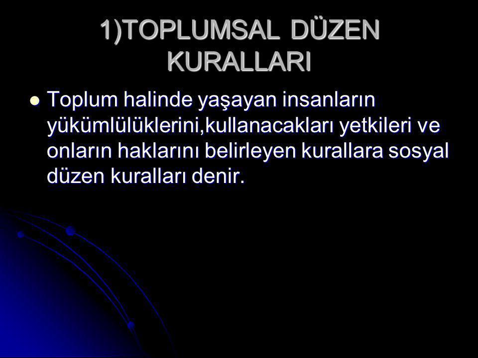 1)TOPLUMSAL DÜZEN KURALLARI