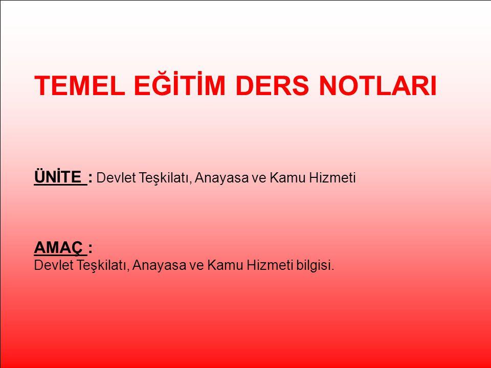 TEMEL EĞİTİM DERS NOTLARI