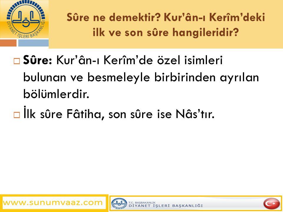 Sûre ne demektir Kur'ân-ı Kerîm'deki ilk ve son sûre hangileridir