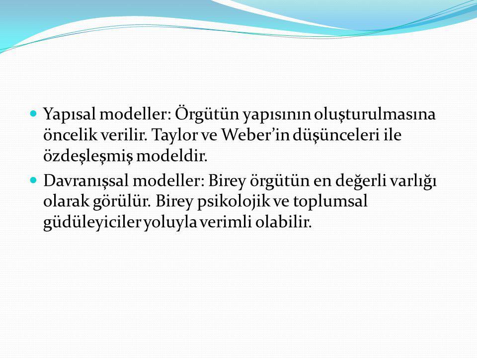Yapısal modeller: Örgütün yapısının oluşturulmasına öncelik verilir