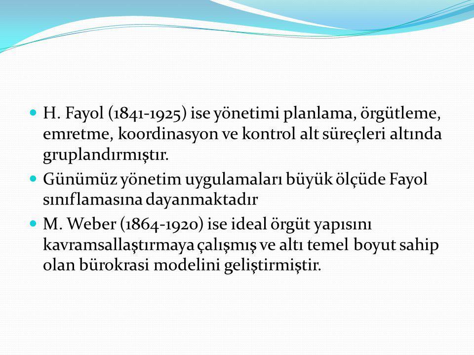 H. Fayol (1841-1925) ise yönetimi planlama, örgütleme, emretme, koordinasyon ve kontrol alt süreçleri altında gruplandırmıştır.