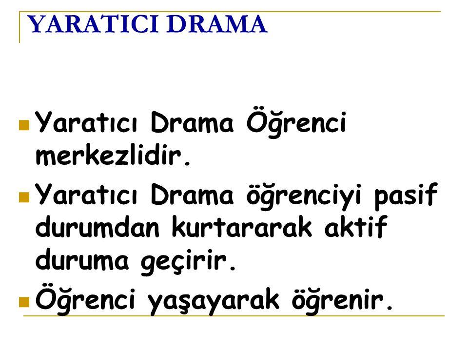 YARATICI DRAMA Yaratıcı Drama Öğrenci merkezlidir. Yaratıcı Drama öğrenciyi pasif durumdan kurtararak aktif duruma geçirir.
