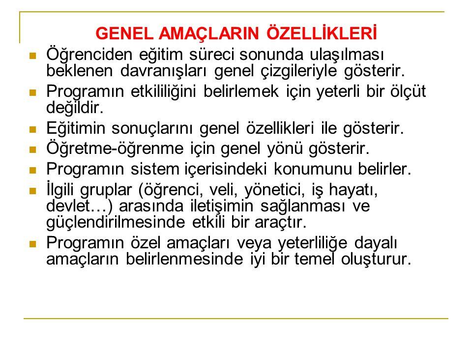 GENEL AMAÇLARIN ÖZELLİKLERİ