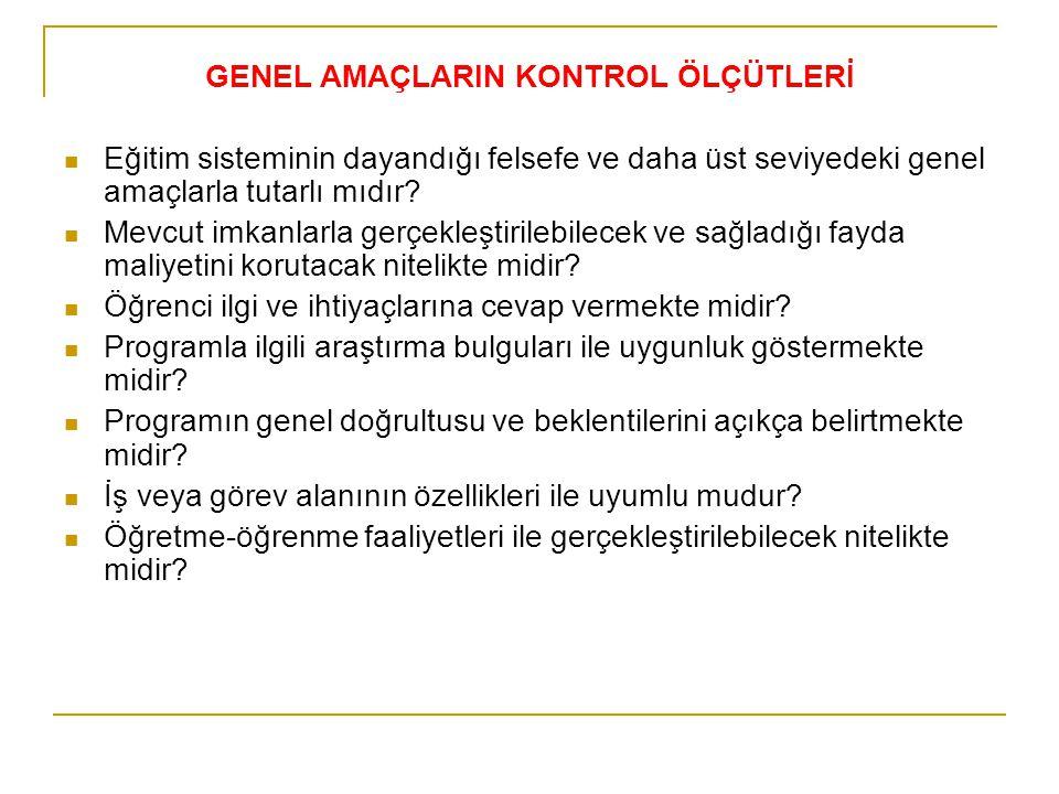 GENEL AMAÇLARIN KONTROL ÖLÇÜTLERİ