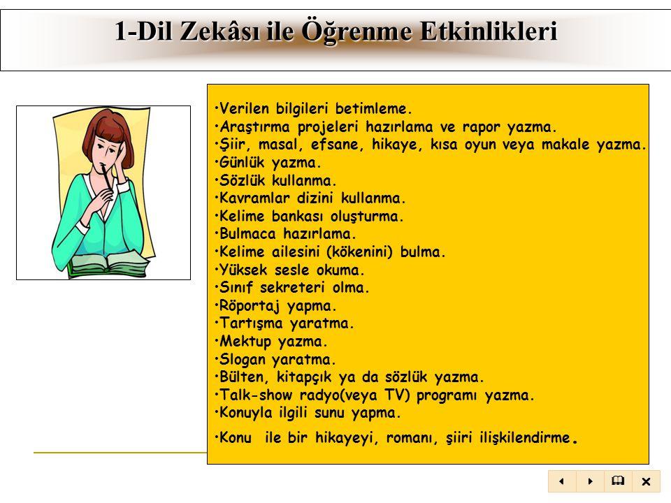 1-Dil Zekâsı ile Öğrenme Etkinlikleri