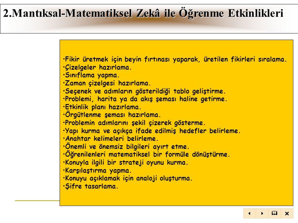 2.Mantıksal-Matematiksel Zekâ ile Öğrenme Etkinlikleri