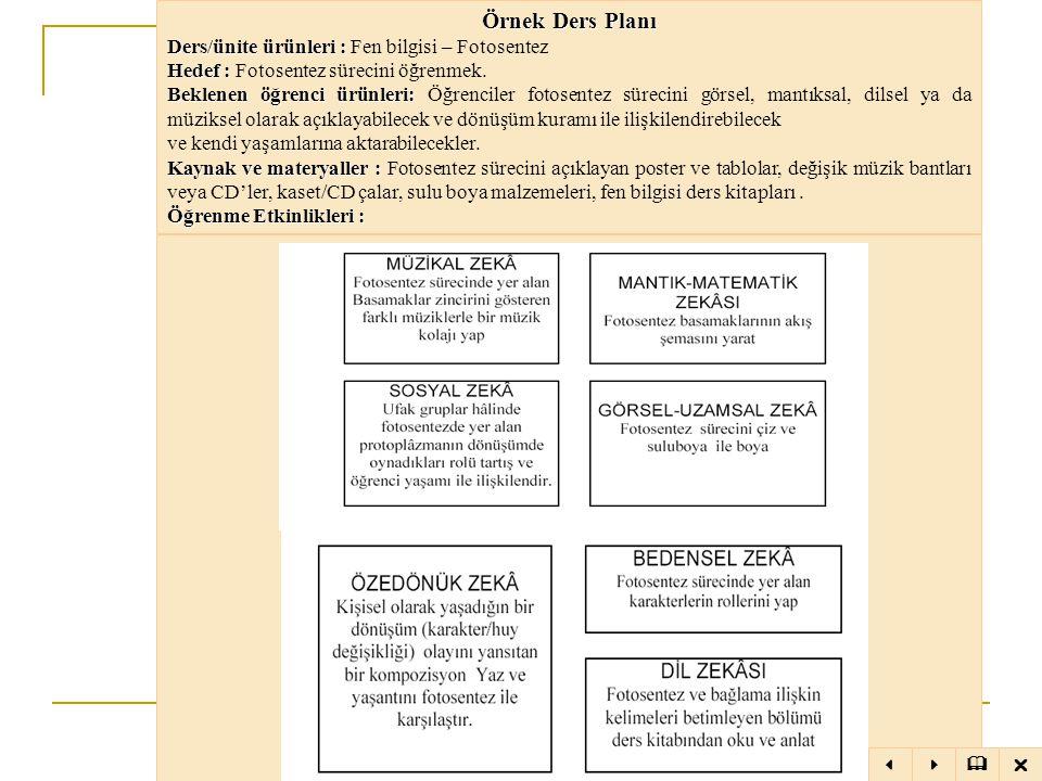 Örnek Ders Planı Ders/ünite ürünleri : Fen bilgisi – Fotosentez