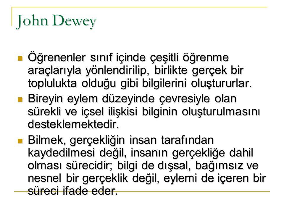 John Dewey Öğrenenler sınıf içinde çeşitli öğrenme araçlarıyla yönlendirilip, birlikte gerçek bir toplulukta olduğu gibi bilgilerini oluştururlar.