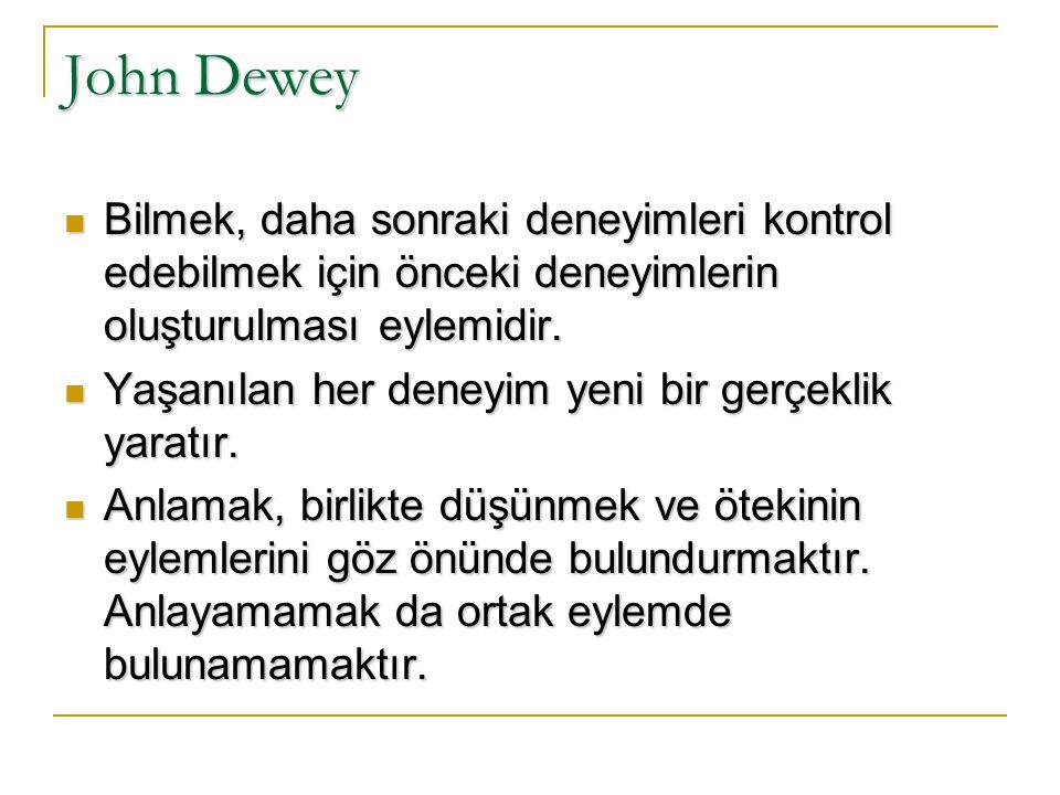John Dewey Bilmek, daha sonraki deneyimleri kontrol edebilmek için önceki deneyimlerin oluşturulması eylemidir.