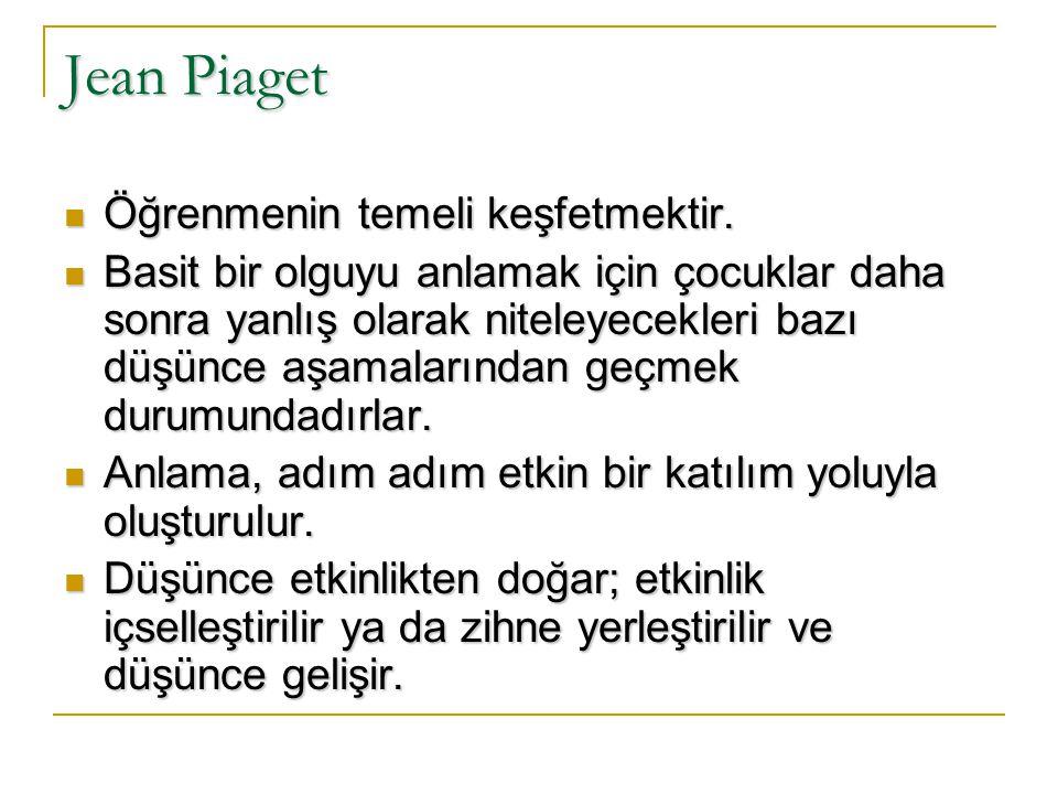 Jean Piaget Öğrenmenin temeli keşfetmektir.