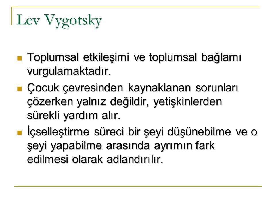 Lev Vygotsky Toplumsal etkileşimi ve toplumsal bağlamı vurgulamaktadır.
