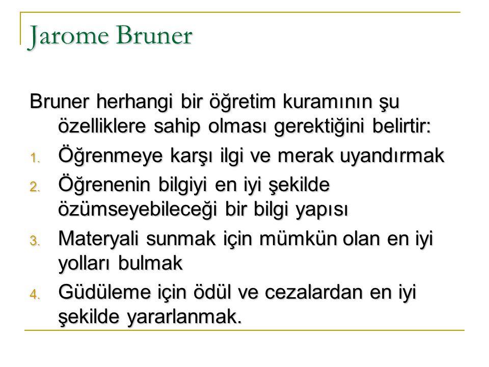 Jarome Bruner Bruner herhangi bir öğretim kuramının şu özelliklere sahip olması gerektiğini belirtir: