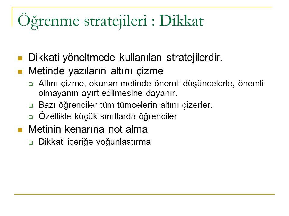 Öğrenme stratejileri : Dikkat