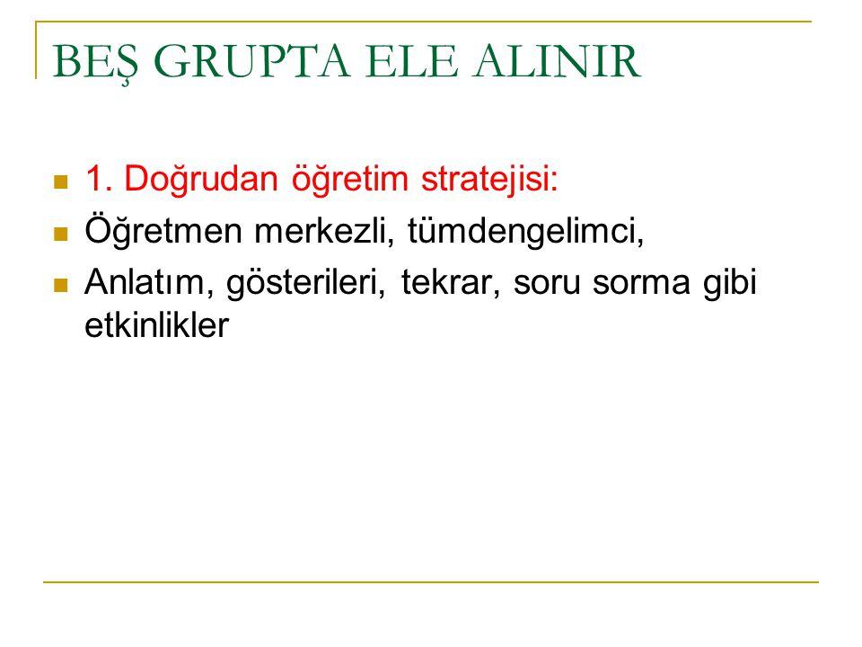 BEŞ GRUPTA ELE ALINIR 1. Doğrudan öğretim stratejisi: