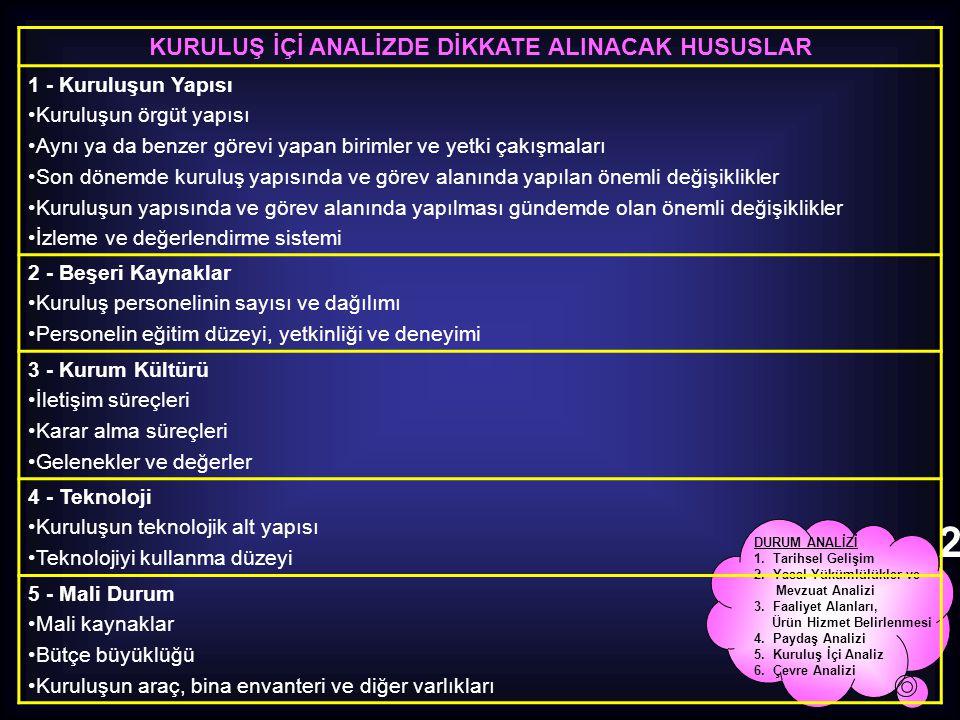 KURULUŞ İÇİ ANALİZDE DİKKATE ALINACAK HUSUSLAR