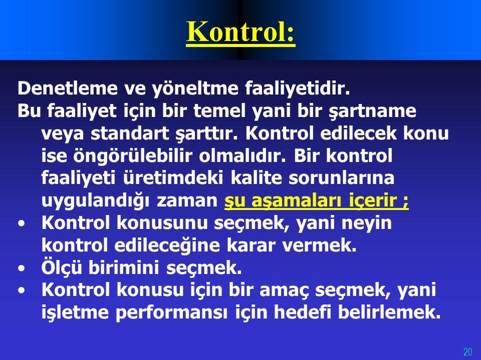 Kontrol: Denetleme ve yöneltme faaliyetidir.