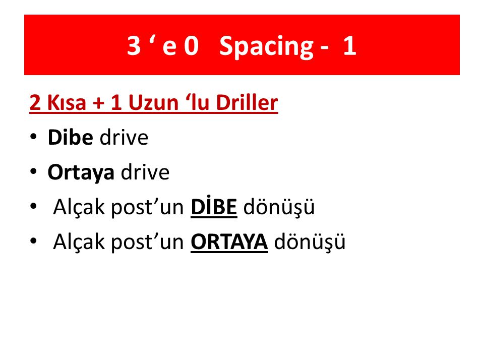 3 ' e 0 Spacing - 1 2 Kısa + 1 Uzun 'lu Driller Dibe drive