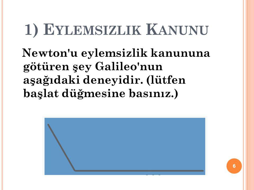 1) Eylemsizlik Kanunu Newton u eylemsizlik kanununa götüren şey Galileo nun aşağıdaki deneyidir.