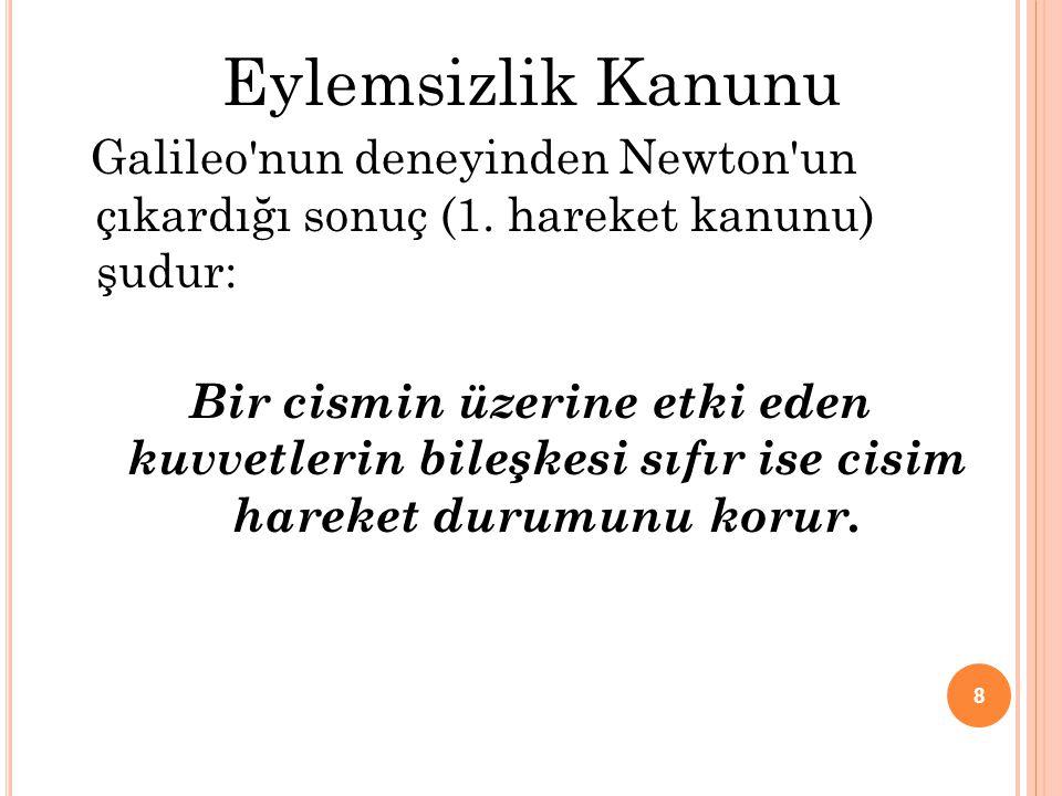 Eylemsizlik Kanunu Galileo nun deneyinden Newton un çıkardığı sonuç (1. hareket kanunu) şudur: