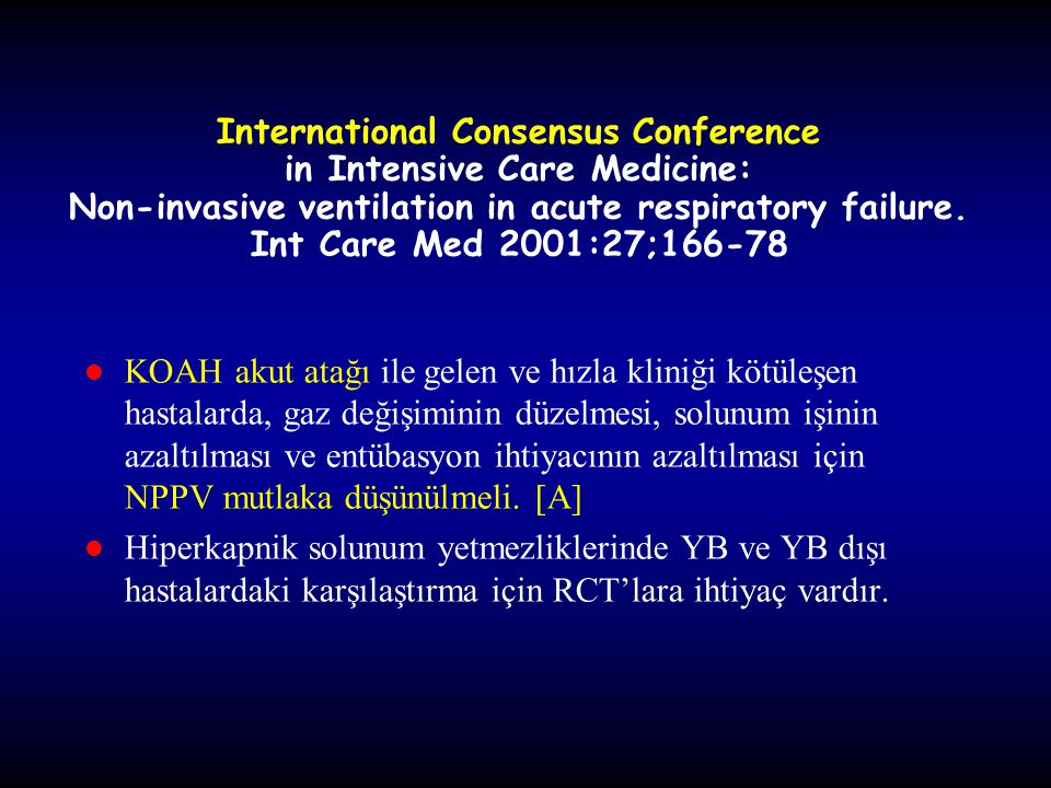 International Consensus Conference in Intensive Care Medicine: Non-invasive ventilation in acute respiratory failure. Int Care Med 2001:27;166-78