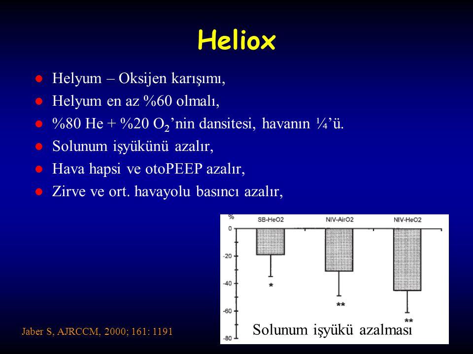 Heliox Helyum – Oksijen karışımı, Helyum en az %60 olmalı,