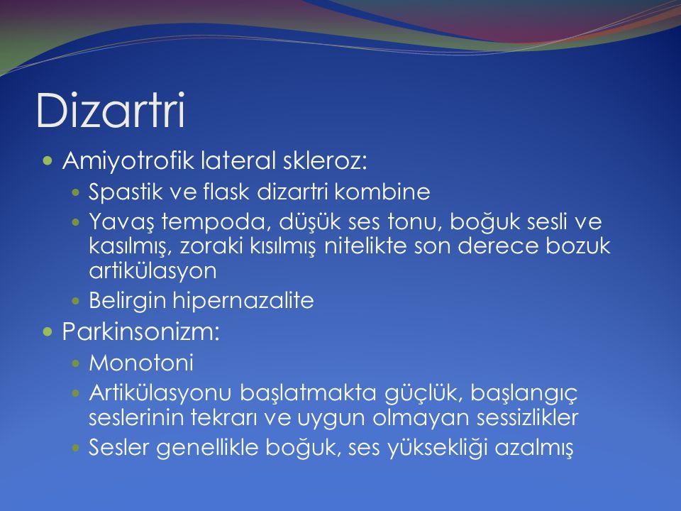 Dizartri Amiyotrofik lateral skleroz: Parkinsonizm:
