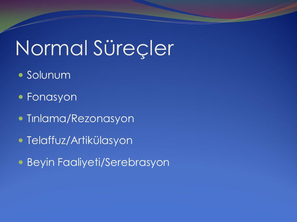 Normal Süreçler Solunum Fonasyon Tınlama/Rezonasyon