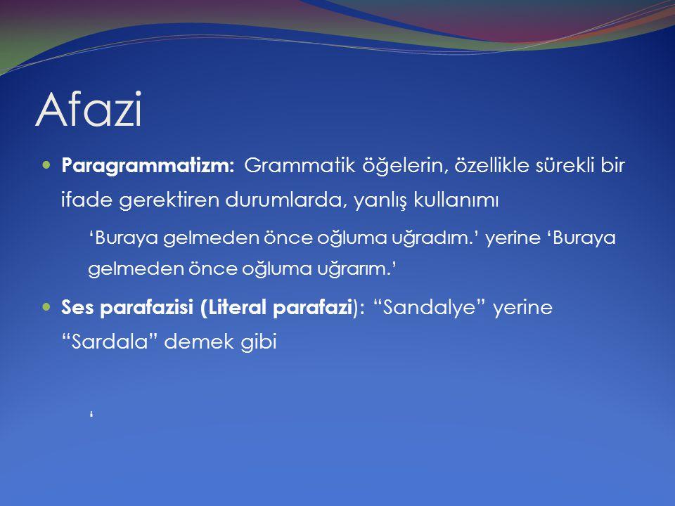 Afazi Paragrammatizm: Grammatik öğelerin, özellikle sürekli bir ifade gerektiren durumlarda, yanlış kullanımı.