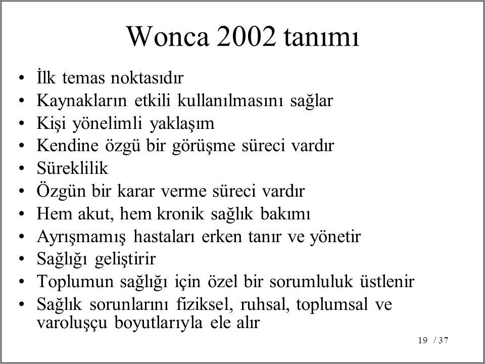 Wonca 2002 tanımı İlk temas noktasıdır