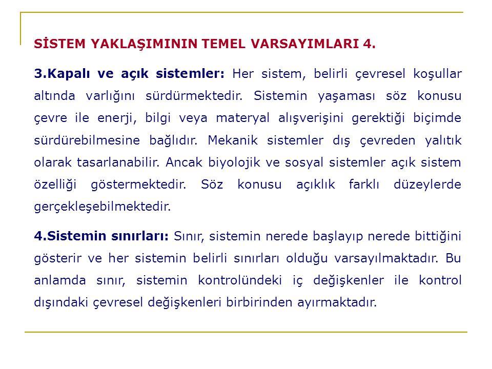 SİSTEM YAKLAŞIMININ TEMEL VARSAYIMLARI 4.
