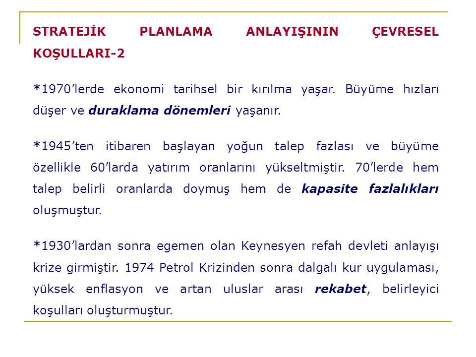 STRATEJİK PLANLAMA ANLAYIŞININ ÇEVRESEL KOŞULLARI-2