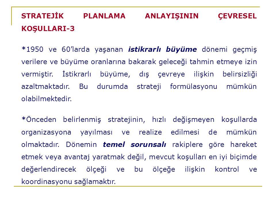 STRATEJİK PLANLAMA ANLAYIŞININ ÇEVRESEL KOŞULLARI-3